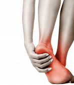 Heel pain in women on white. Pain concept poster