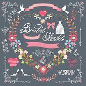Retro bridal shower design template set with floral decor,bridal dress. Floral wreath in heart shape, floral group.For Wedding,Valentine day ,invitation,card.Vintage Vector poster