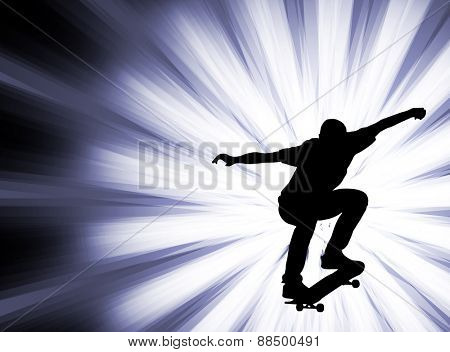 skateboarder silhouette on the abstract background - vector