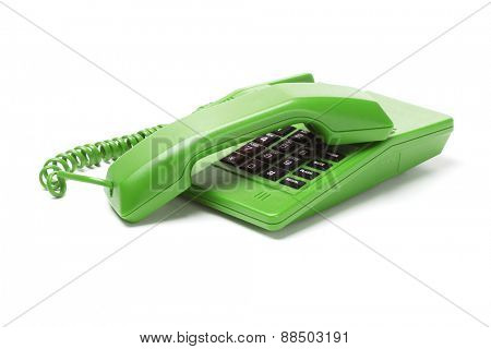Green Telephone with Receiver on White Background