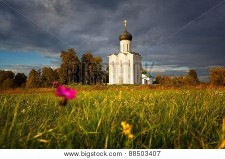 Reserved Meadow Near Church Of The Intercession Of The Holy Virgin On The Nerl River Before A Rain