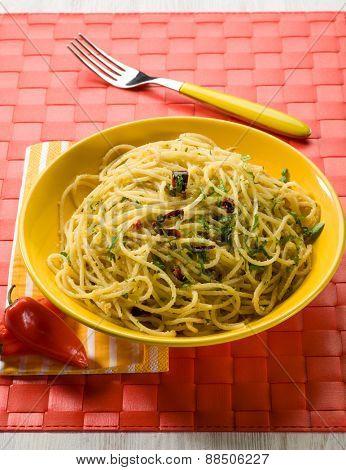 spaghetti garlic oil and hot chili pepper