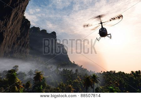 Civilian helicopter  over the island.