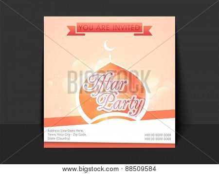 Beautiful invitation card with mosque for Iftar party celebration of holy month Ramadan Kareem. poster