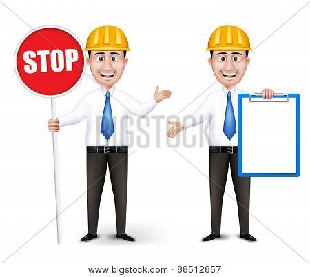 Set of Realistic Engineers or Workers Characters