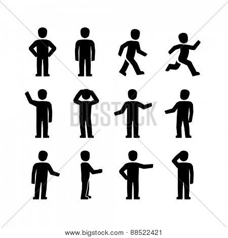 Vector human body action poses