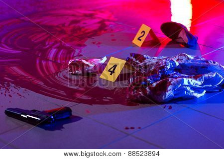 Blood At The Murder Scene