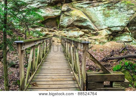 Bridge along a hiking trail located in the Rock House area of Hocking Hills State Park. Logan, Ohio, Hocking Hills State Park is the most popular park located in the state of Ohio. poster