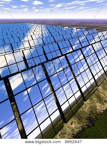 Solar Panel Farm In Countryside