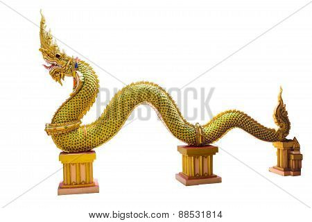 naka statue in temple thailand isolate white background with clippingpath