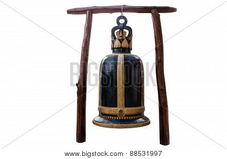 Big bell at Temple of thailand isolate white background with clippingpath