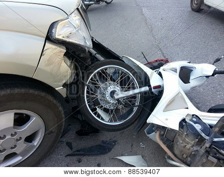 Crash Accident Pickup Truck And Motorcycle