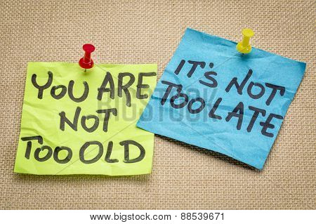 You are not too old, it is not too late. Motivational advice or reminder on colorful sticky notes.