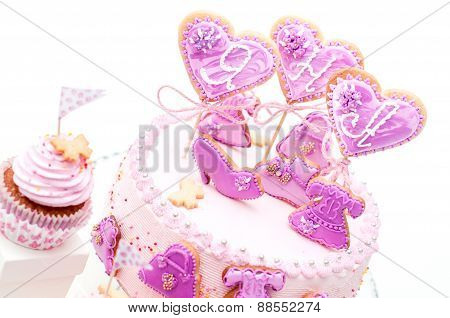 pink and violet girl's birthday cake