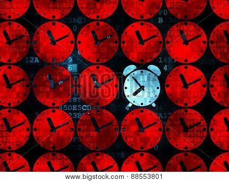 Timeline concept: alarm clock icon on Digital background