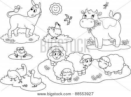 Coloring farm animals