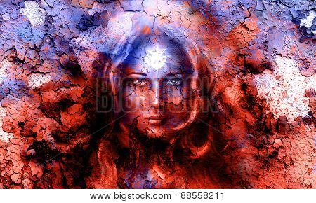 mystic face women with structure crackle background effect with star on forehead collage. eye contact poster