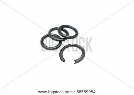 Close Up Black Rubber O-ring Torn