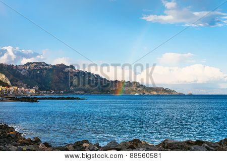 View Of Giardini Naxos Town, Cape And Rainbow
