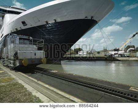 Cruise ship entering Panama Canal