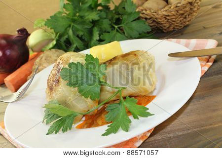 Cabbage Rolls With Potatoes And Parsley