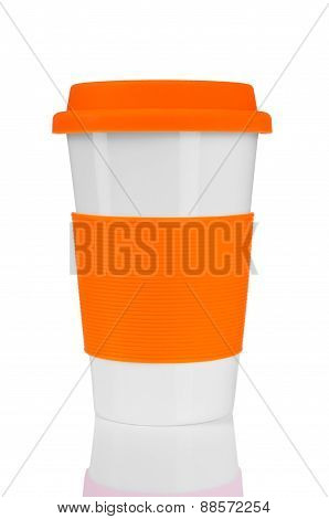 orange travel mug  isolated on white background