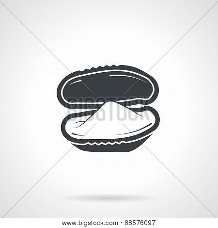 Oyster black vector icon