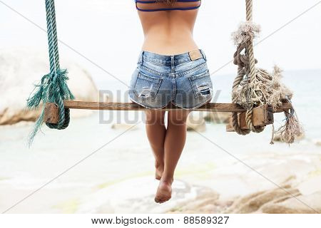 Sexy Backs Of Beautiful Woman In Shorts On Sunny Beach