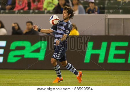 CARSON, CA. - APR 18: Benny Feilhaber in action during the L.A. Galaxy game against Sporting Kansas City on April 18, 2015 at the StubHub Center in Carson, California.