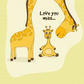 Happy Mother's Day celebration with illustration of baby giraffe saying to mother giraffe Love You Maa on vintage background. poster