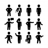 Vector human body action poses pictogram icons  poster