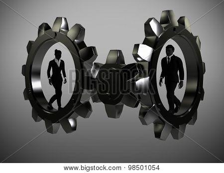 Executives walking inside metal gears.