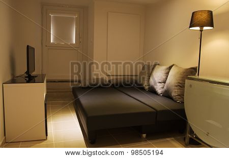 Small Living Room With Open Sofa Bed