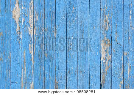 Blue Peeling Painted Wood Planks As Background Or Texture, Natural Pattern