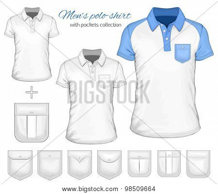 Men's short sleeve polo-shirt and pockets collection. Vector illustration.