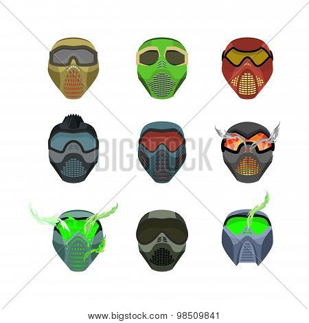 Set Helmets And Masks For Sports. Devilish Horrible Masks. Scary Helmets For Paintball And Motorcycl