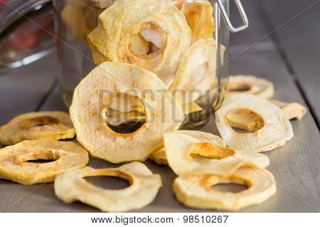 Dried Apple Rings In A Jar