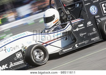HOCKENHEIM, GERMANY - AUGUST 2, 2015: The 4wheel powered electronic car, designed by Formula Student Team Delft from the TU Delft is the world champion of the Formula Student Design Competition