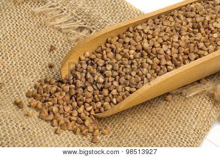 Buckwheat in a wooden spoon