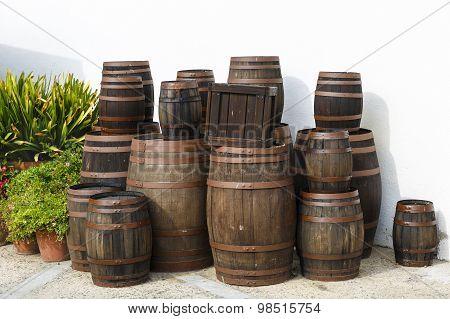 Old Wine Barrels On A Platform