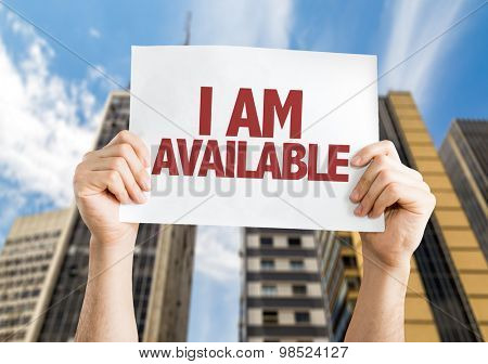 I Am Available card with urban background