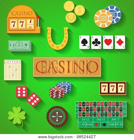 Casino Elements Flat Design Modern Vector Illustration Of Casino Items, Gambling Chips, Poker Cards,
