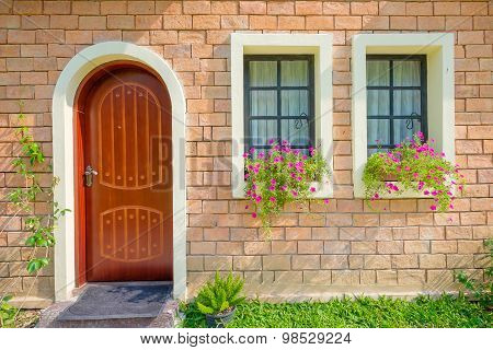 Exterior And Front Door Of A Beautiful Old House