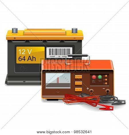 Vector Car Battery Charge Concept
