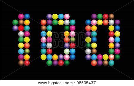 Hundred Balls Shiny Beads Number Black