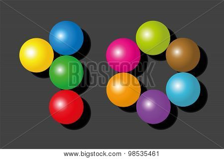 Ten Items Pieces Balls Colors Number Black