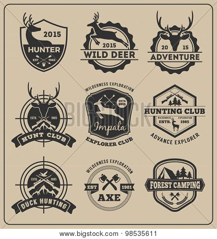 Set Of Monochrome Animal Hunting And Adventure Badge Logo Design For Emblem Logo, Label Design