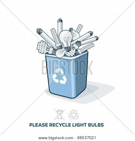 Used Light Bulbs In Recycling Bin
