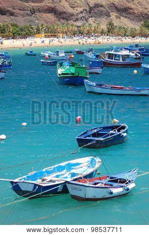Colorful fishing boats on Teresitas beach