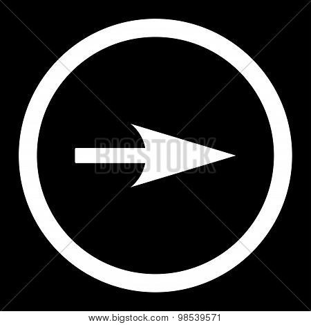 Arrow Axis X vector icon. This rounded flat symbol is drawn with white color on a black background. poster